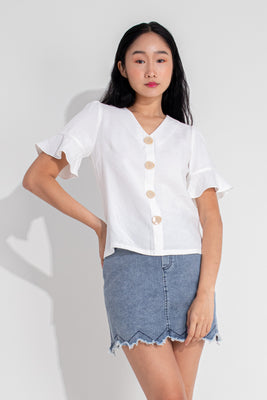 Presley Trumpet Sleeves Buttoned Blouse in White