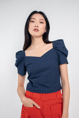 Melody Pleated Sleeves Top in Navy Blue