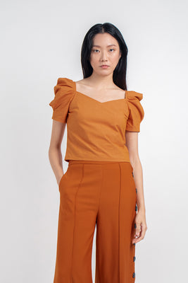 Melody Pleated Sleeves Top in Orange
