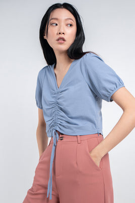 Ada Gathered Cropped Blouse in Powder Blue