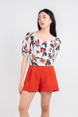 *Restocked* Luna Cropped Floral Blouse in White