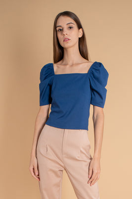 Holly Puff-Sleeves Knit Blouse in Midnight Blue