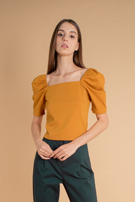 Holly Puff-Sleeves Knit Blouse in Marigold