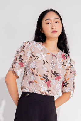 Ansley Ruffled Sleeves Floral Blouse in Dusty Pink