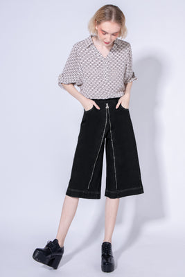*New Colour* Holland Two-Way Denim Culottes in Black