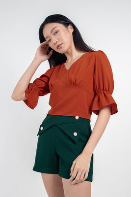 *Restocked* Daisy Flounced Sleeves Cropped Blouse in Burnt Orange