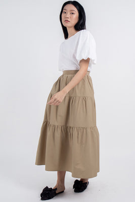 *Restocked* Colette Tiered Maxi Skirt in Khaki