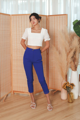 Nova High-Waisted Tapered Trousers in Blue