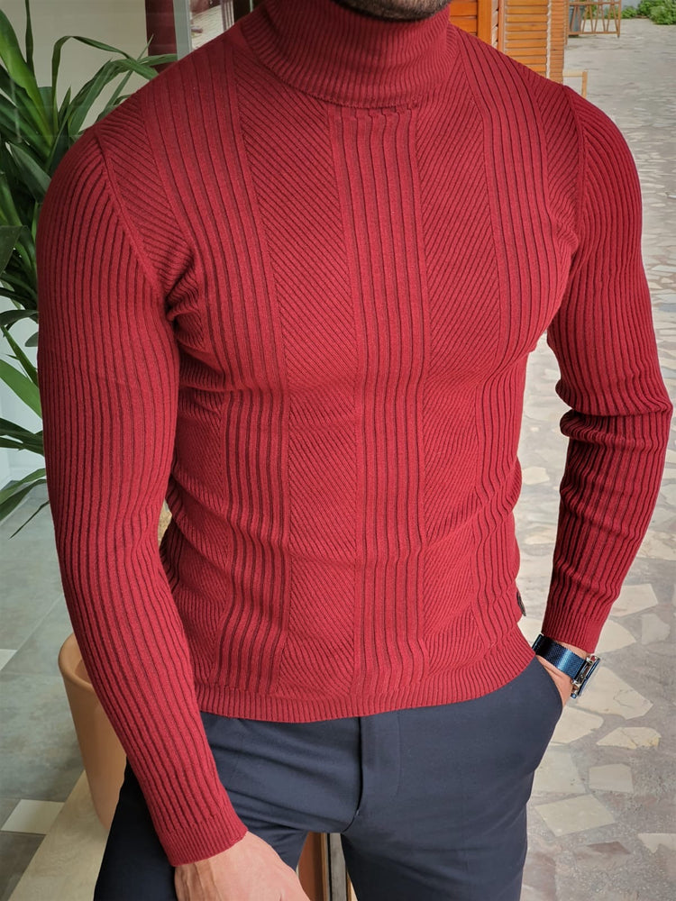 Claret Striped Turtleneck