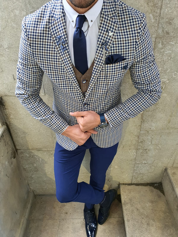 Navy Plaid Suit