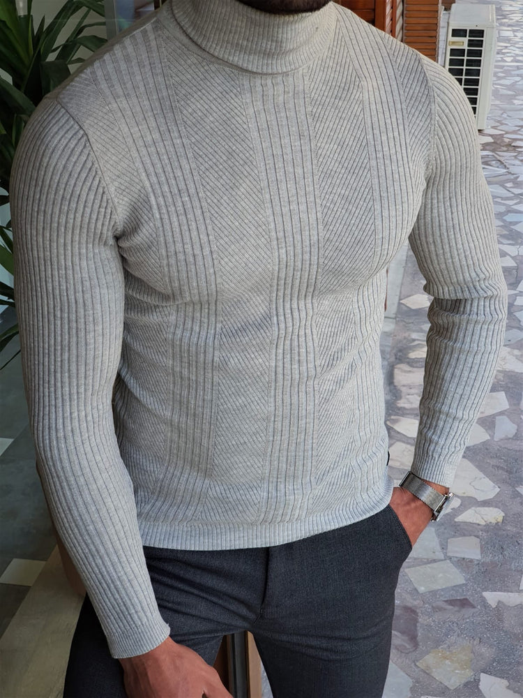 Grey Striped Turtleneck