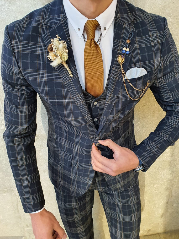 Dark Blue Plaid Suit
