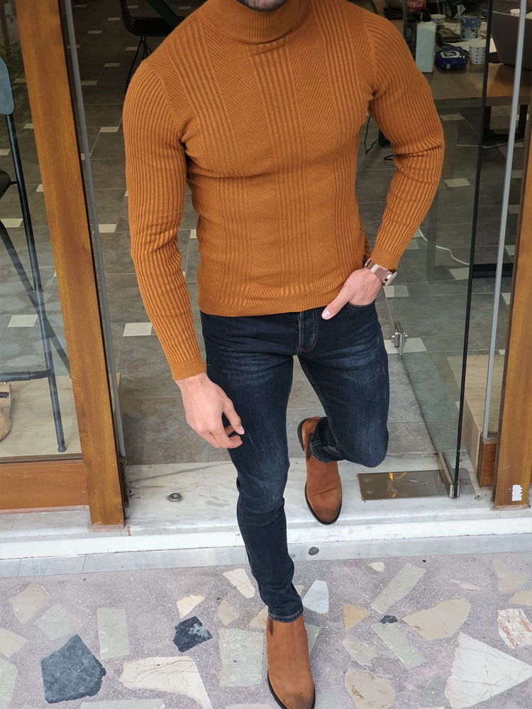 Camel Striped Turtleneck
