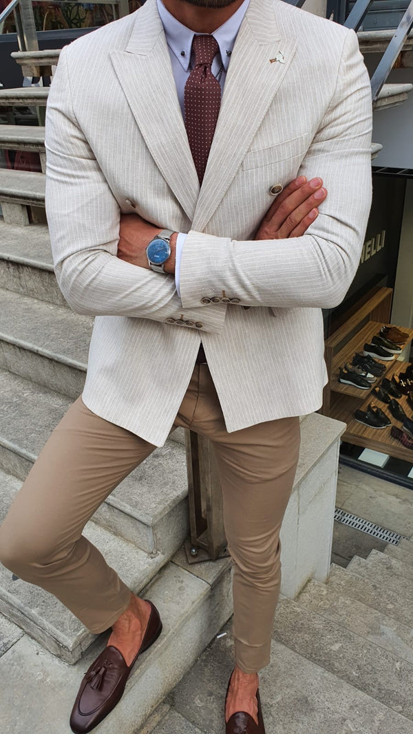 Striped White Suit Jacket