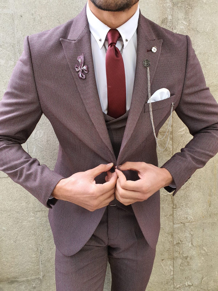 Claret Red Patterned Suit