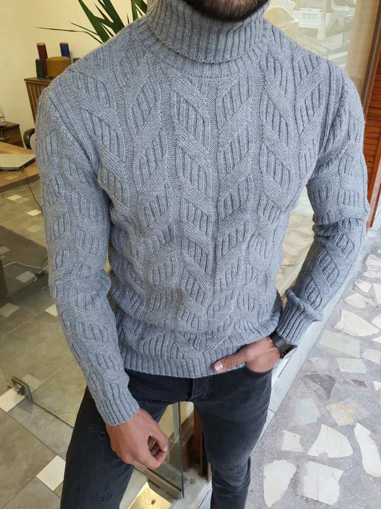Gray Patterned Turtleneck