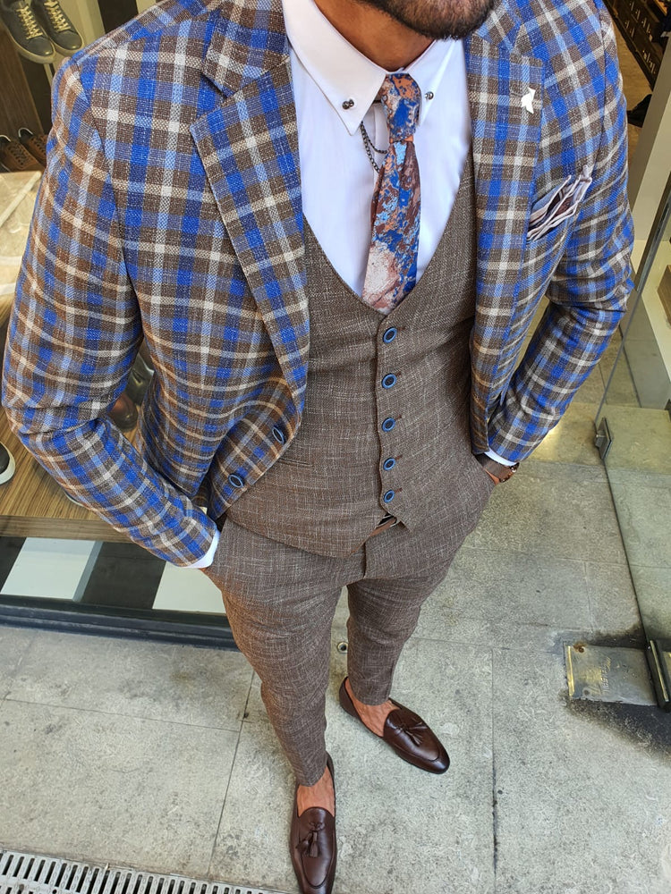 Blue & Camel Suit