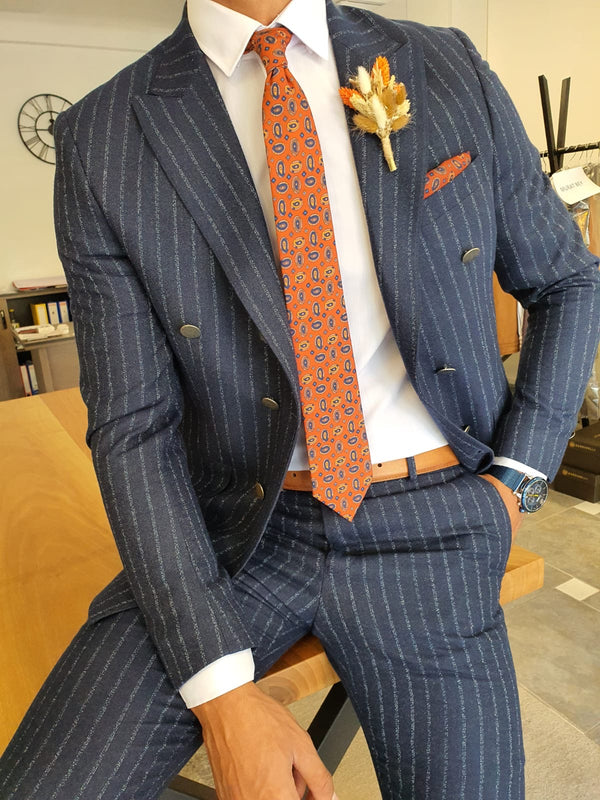 Striped Navy Suit