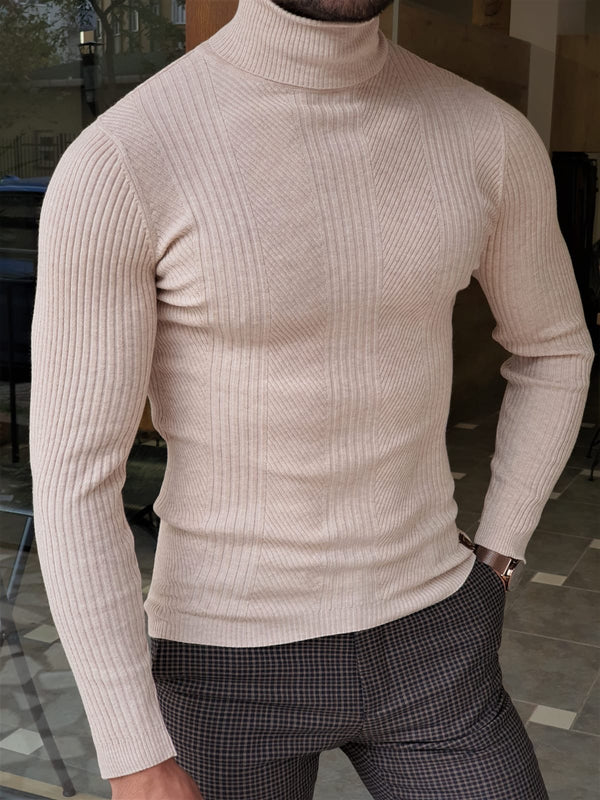 Beige Striped Turtleneck