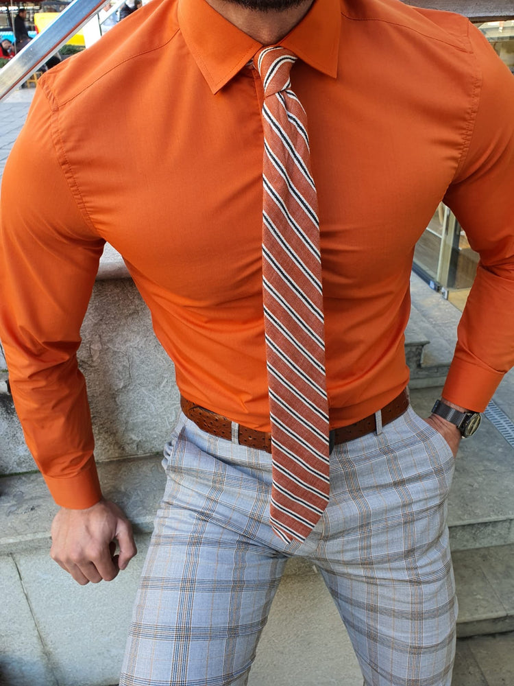 Orange Shirt & Tie
