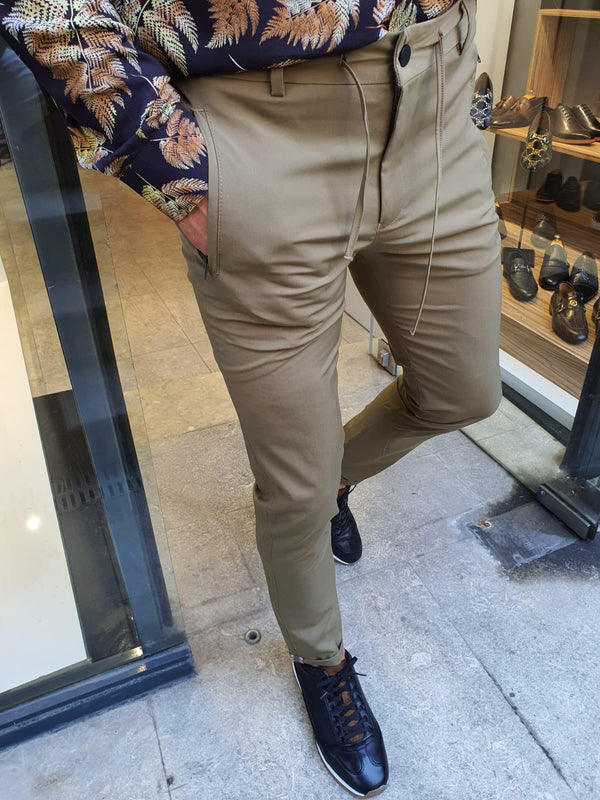 Khaki Pants Zipper Pockets