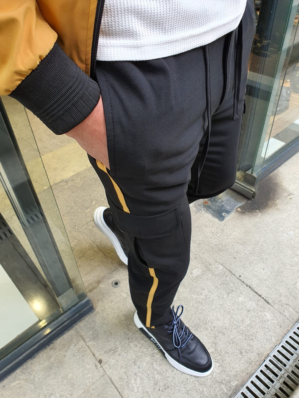 Black & Yellow Cargo Pants
