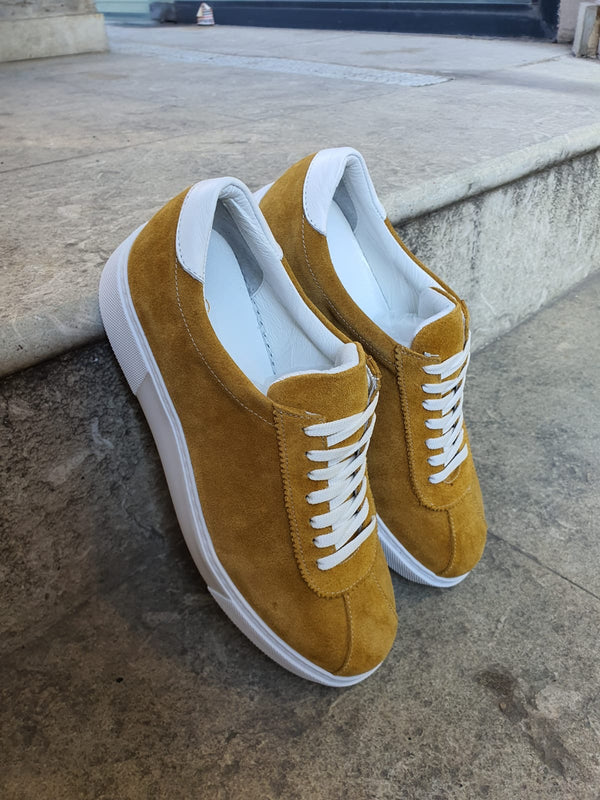Yellow Suede Leather Sneakers