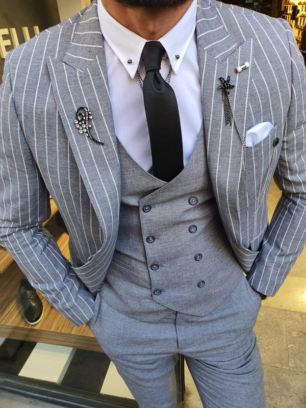 Gray & White Suit