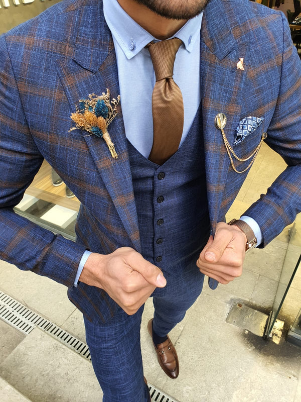 Indigo Plaid Suit