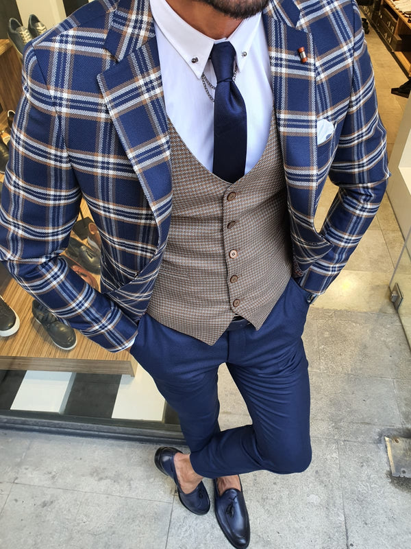 Plaid Indigo Suit