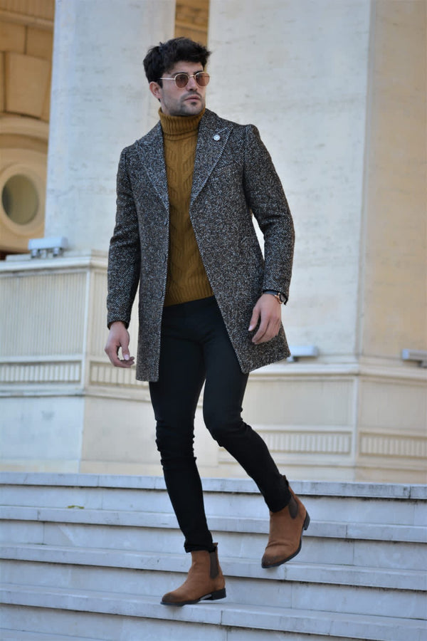 Khaki & Brown Wool Coat