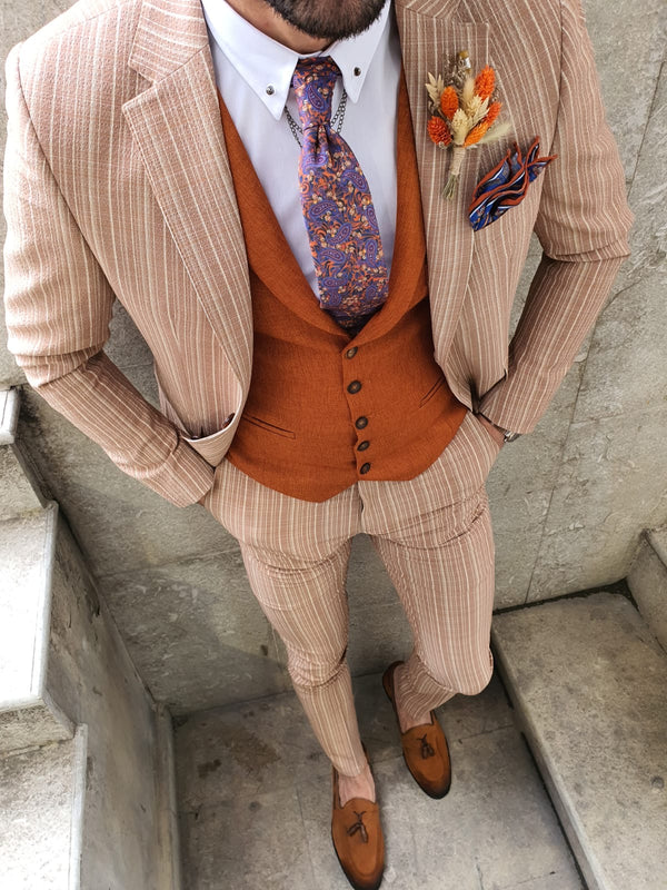 Striped Beige Suit