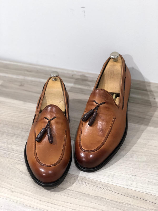 Tan Calf-Leather Loafers