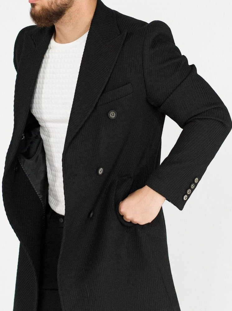 Striped Black Wool Coat