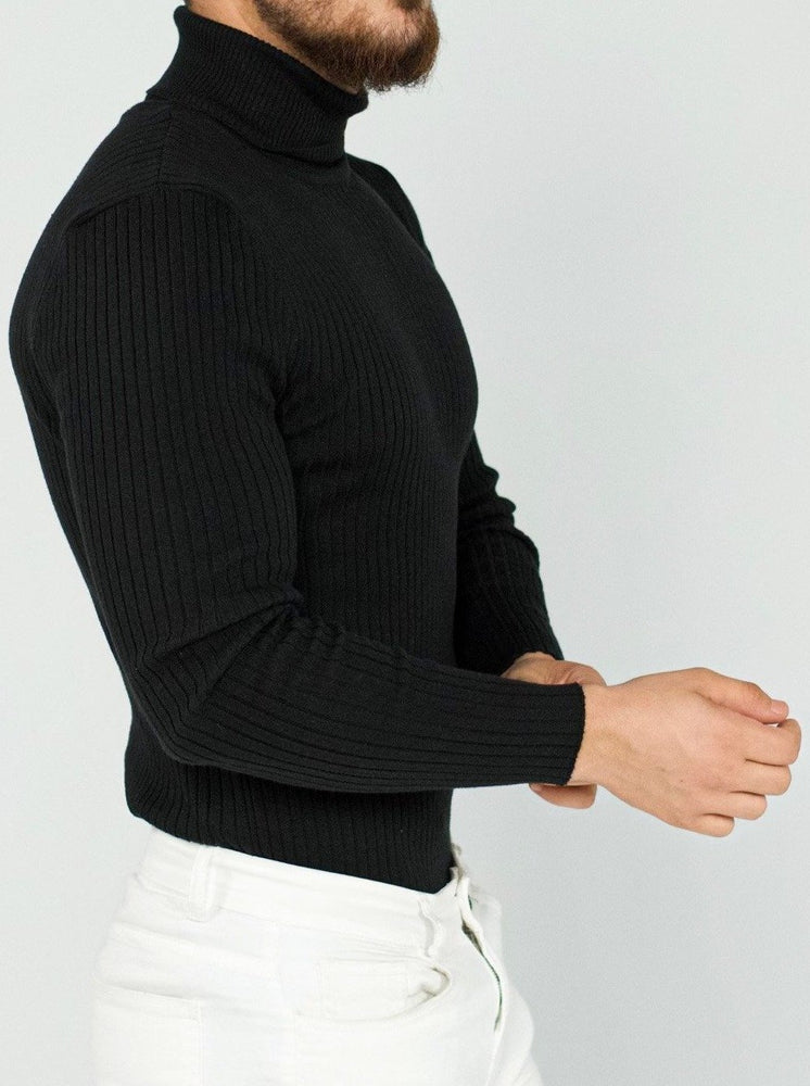 Black Striped Turtleneck