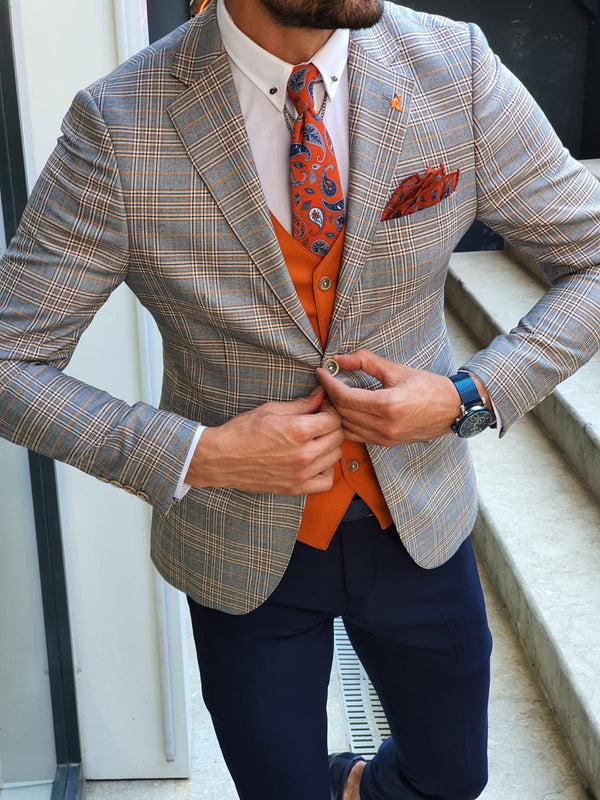Dark Blue & Orange Suit