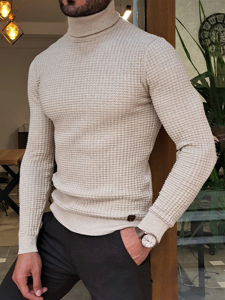 Beige Ridged Turtleneck