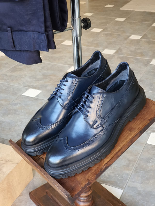 Navy Blue Calf Leather Shoes