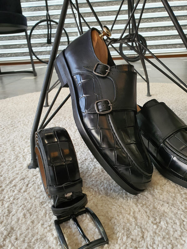 Buckled Crocodile Leather Shoes