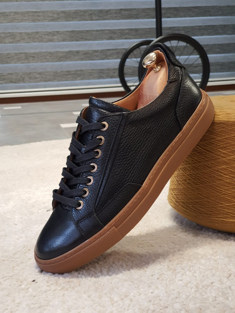 Black Calf Leather Sneakers