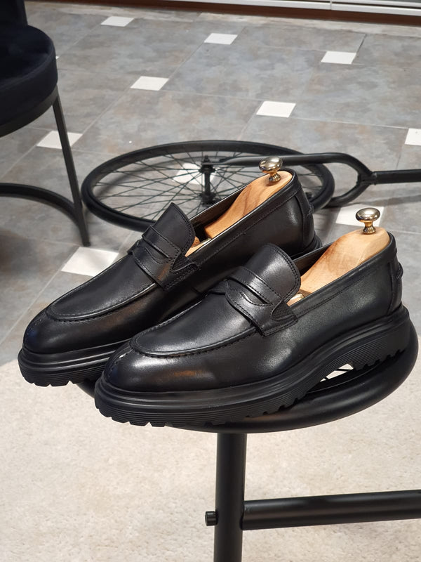 Black Calf Leather Loafers