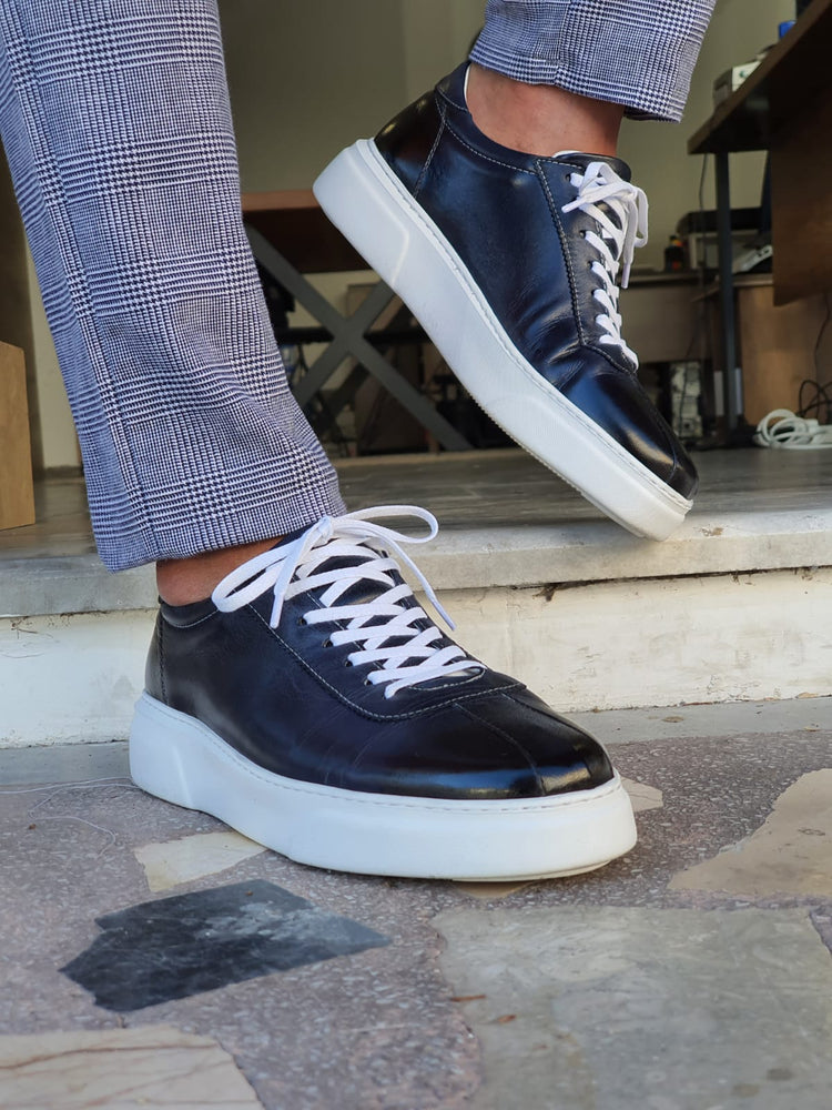 Navy Blue Calf Leather Sneakers