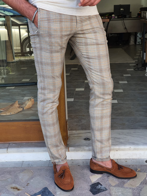Ecru & Brown Plaid Pants
