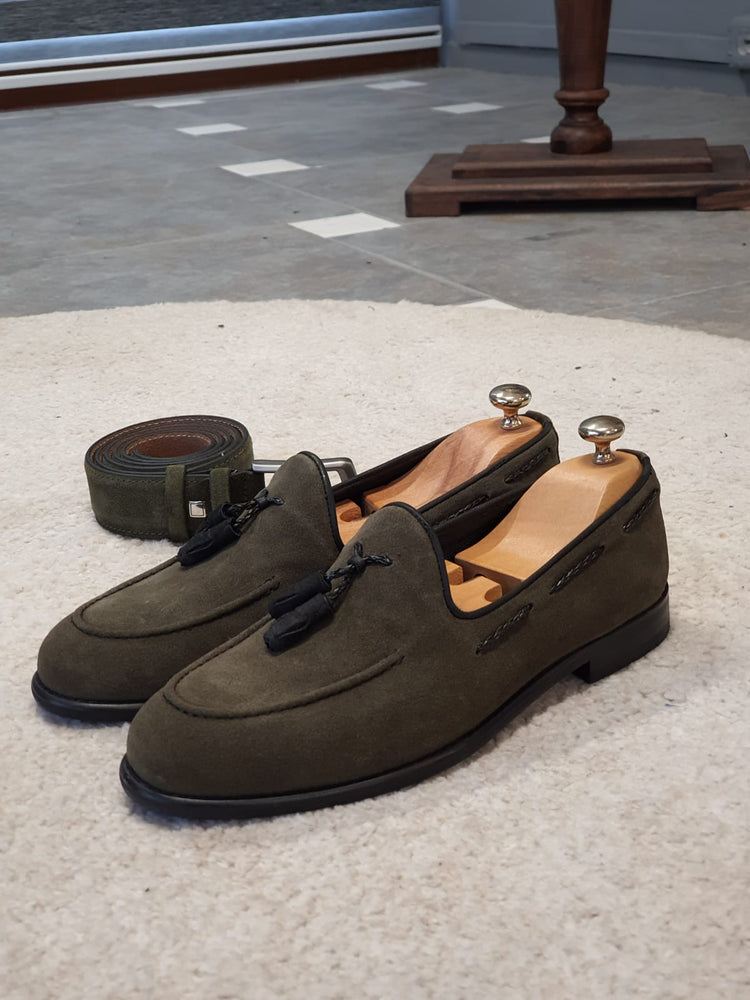 Khaki Suede Loafers