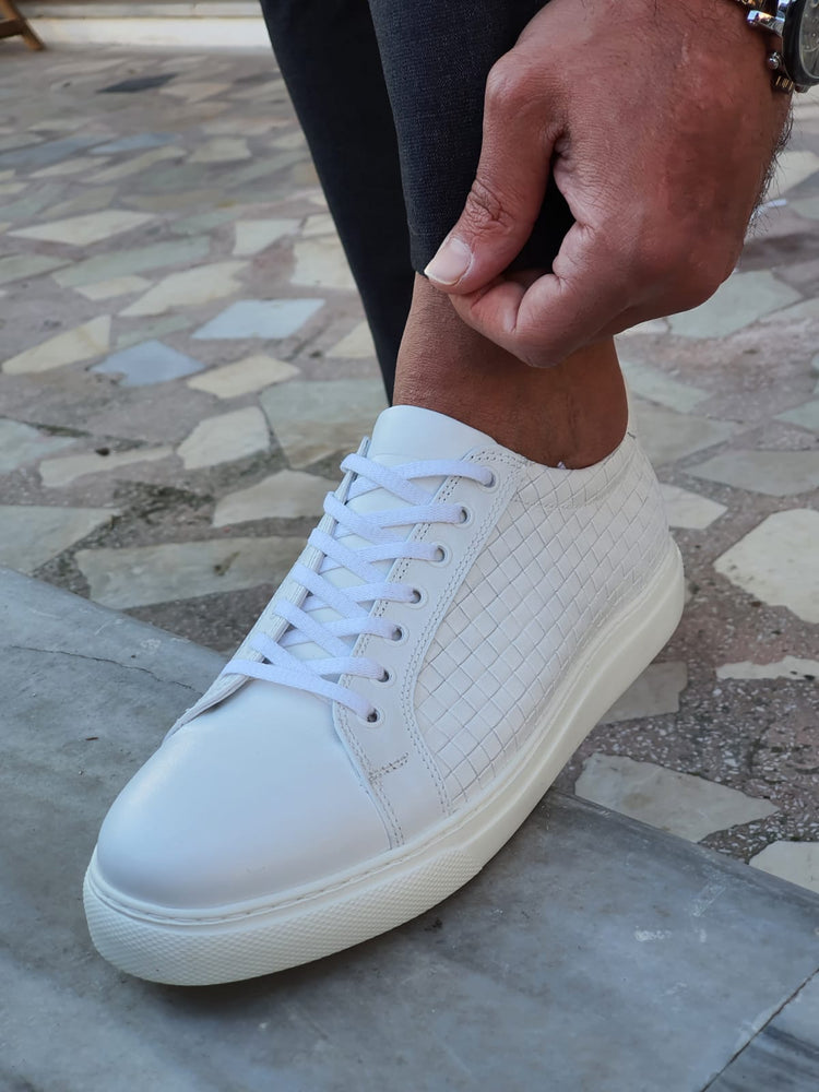 White Woven Leather Sneakers