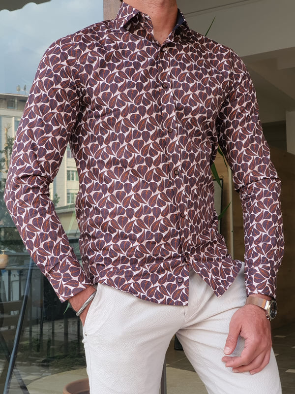 Brown Patterned Cotton Shirt