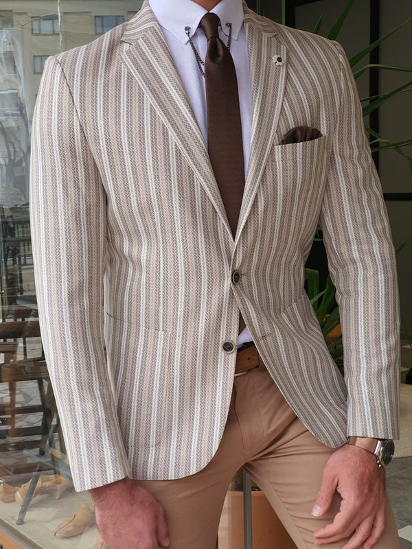 Ecru Striped Jacket
