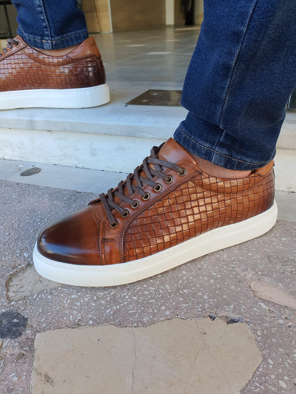 Tan Woven Leather Shoes