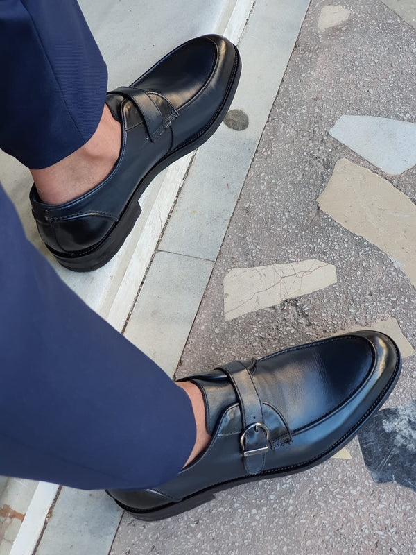Navy Buckle Leather Shoes