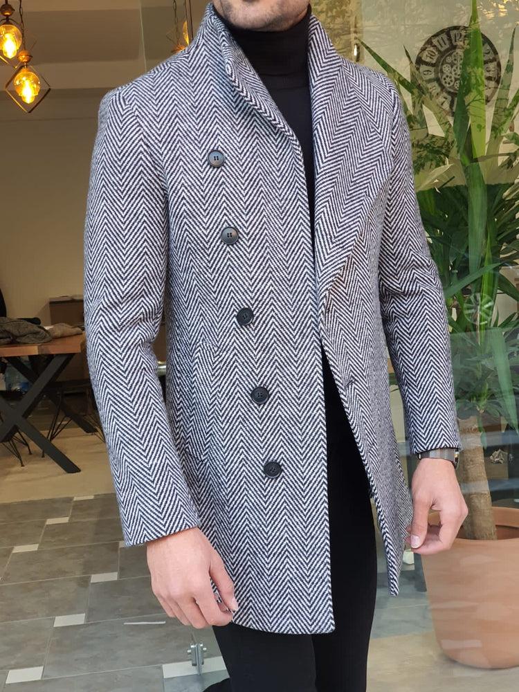 Patterned Gray Wool Coat